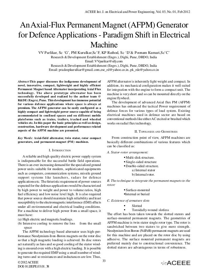ACEEE Int. J. on Electrical and Power Engineering, Vol. 03, No. 01, Feb 2012 An Axial-Flux Permanent Magnet (AFPM) Generat...