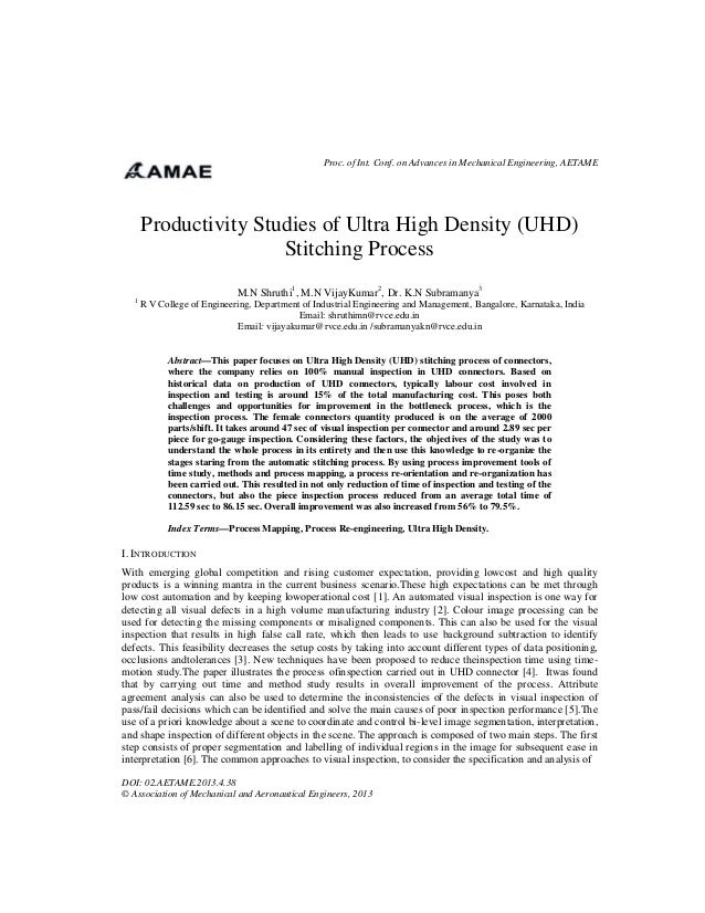 Proc. of Int. Conf. on Advances in Mechanical Engineering, AETAME  Productivity Studies of Ultra High Density (UHD) Stitch...