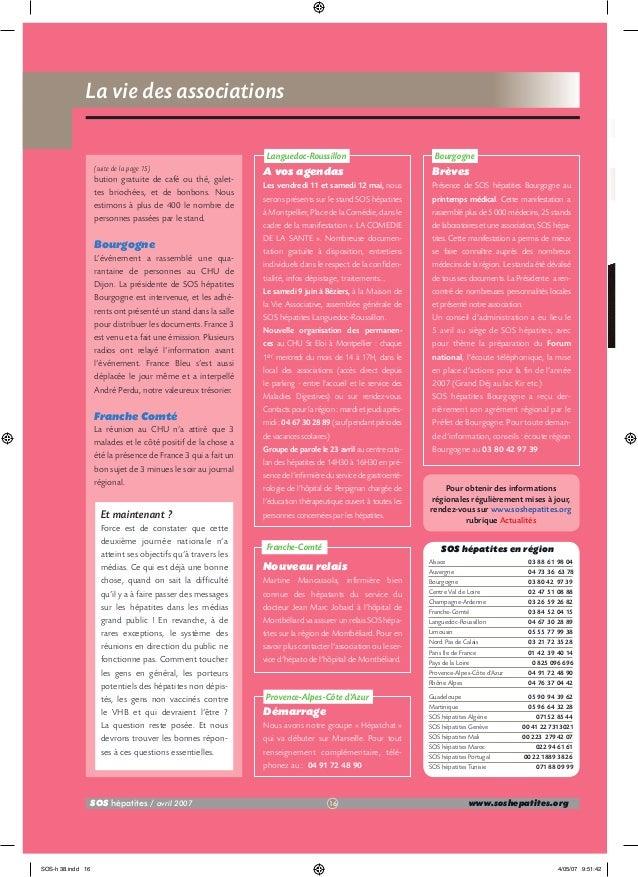 La vie des associations  N Languedoc-Roussillon (suite de la page 15)  bution gratuite de café ou thé, galettes briochées,...