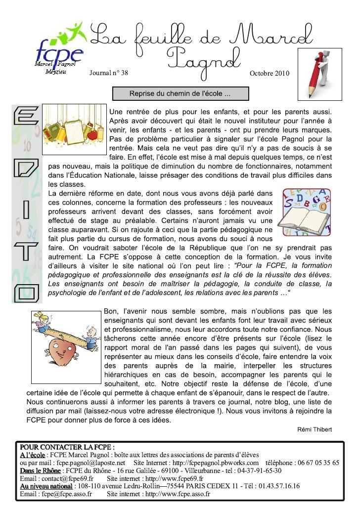 La feuille de Marcel                         Journal n° 38                                       Pagnol Octobre 2010      ...