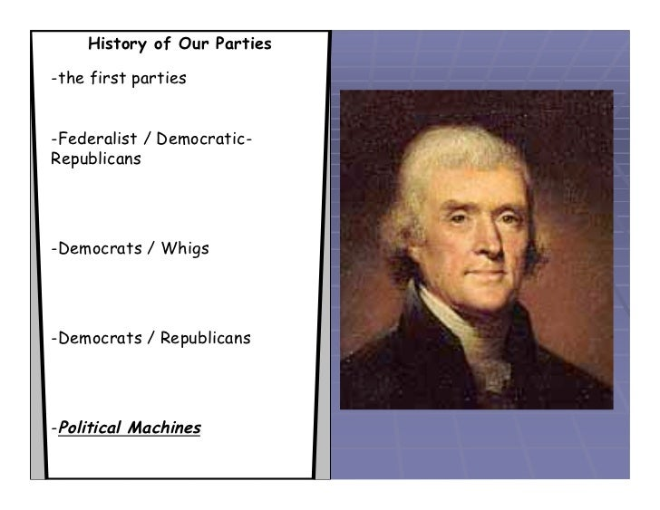 History of Our Parties-the first parties-Federalist / Democratic-Republicans-Democrats / Whigs-Democrats / Republicans-Pol...