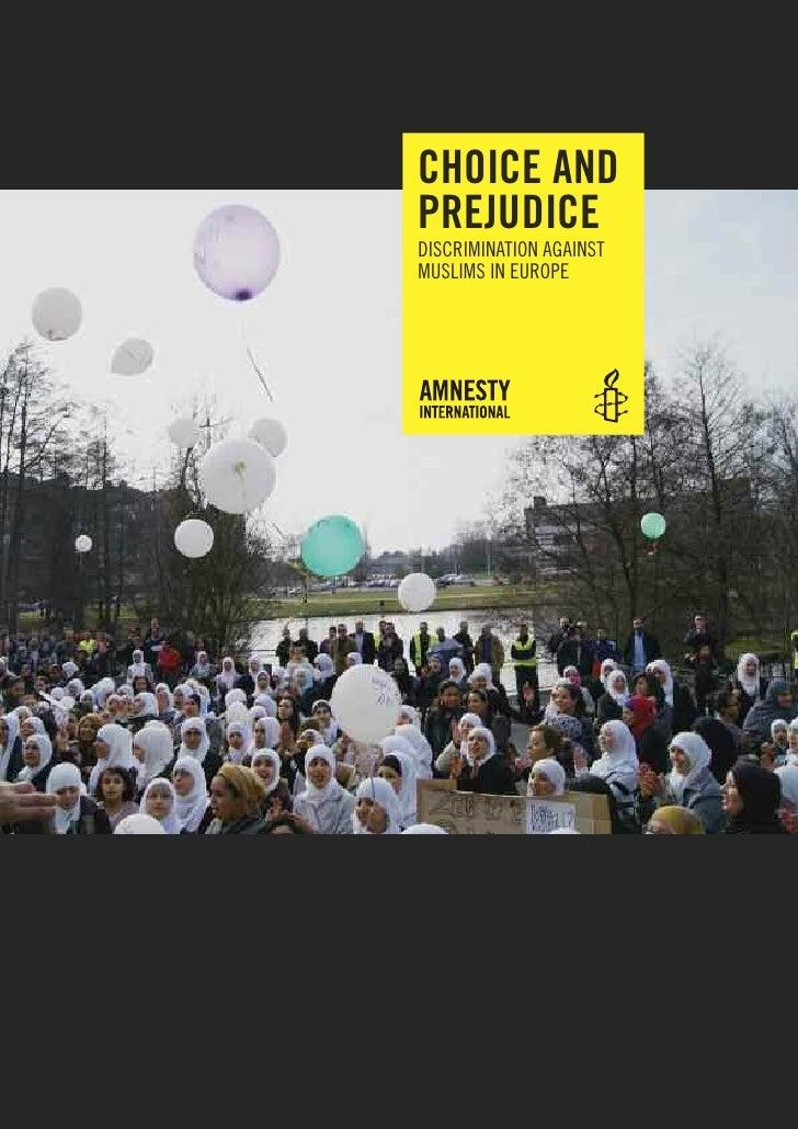 Choix et préjugé, discrimination contre les Musulmans en Europe