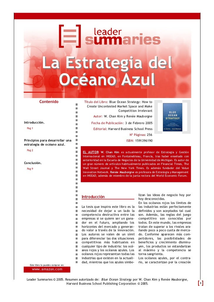 La Estrategia del                Océano Azul           Contenido                   Título del Libro: Blue Ocean Strategy: ...