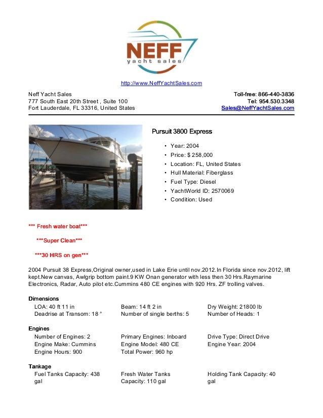 38' 2004 pursuit 3800 express for sale   neff yacht sales