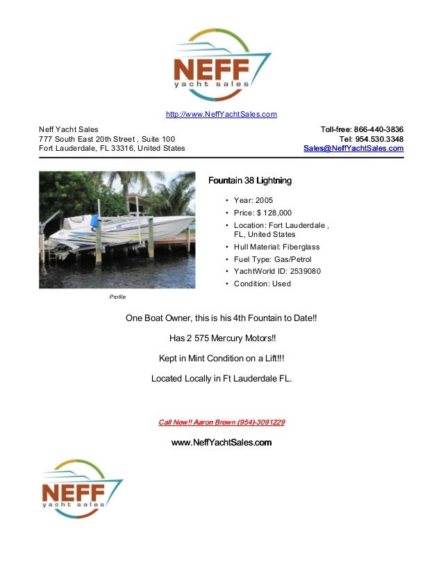 38' 2005 fountain 38 lightning for sale   neff yacht sales