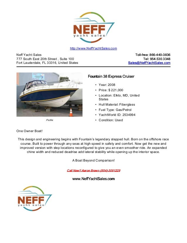 38' 2008 fountain 38 express cruiser for sale   neff yacht sales
