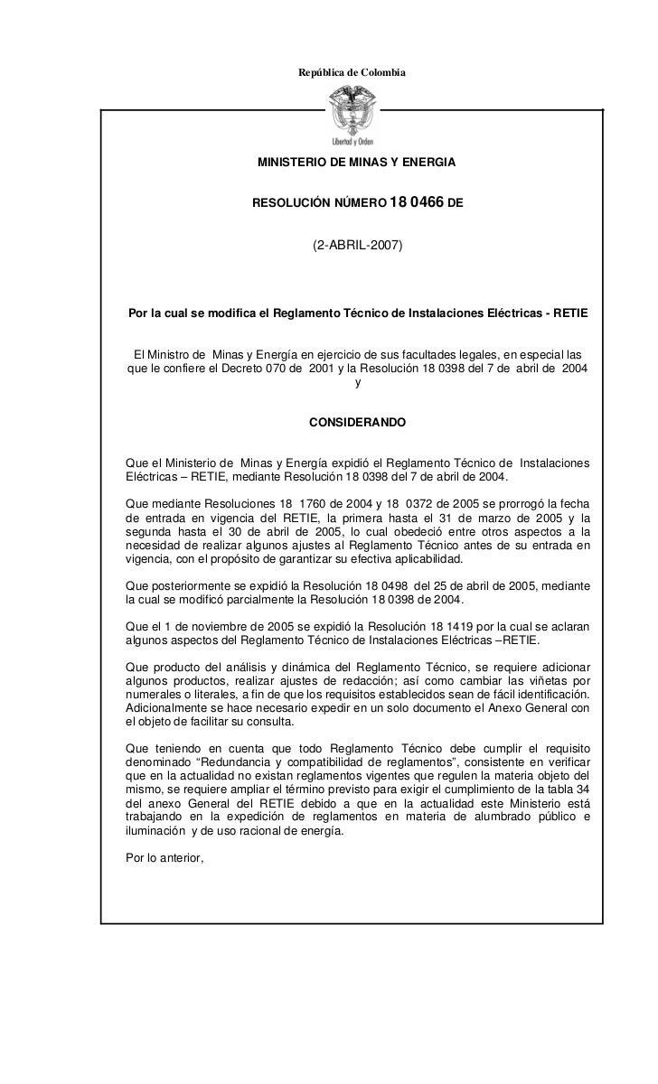 República de Colombia                          MINISTERIO DE MINAS Y ENERGIA                         RESOLUCIÓN NÚMERO 18 ...