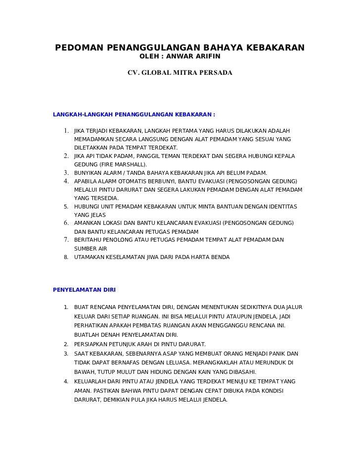 PEDOMAN PENANGGULANGAN BAHAYA KEBAKARAN                            OLEH : ANWAR ARIFIN                        CV. GLOBAL M...