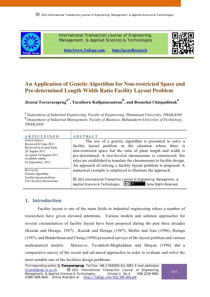 An Application of Genetic Algorithm for Non-restricted Space and Pre-determined Length Width Ratio Facility Layout Problem