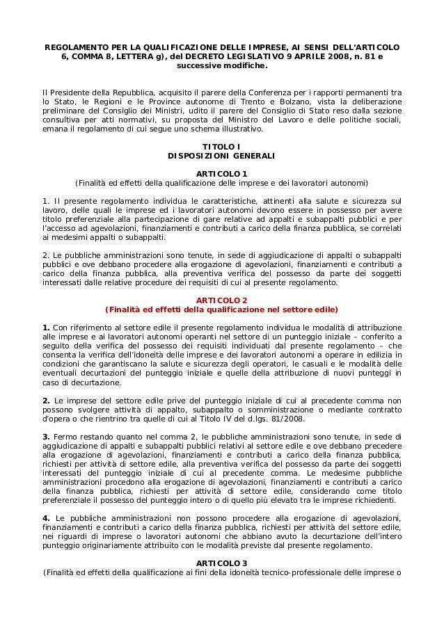 REGOLAMENTO PER LA QUALIFICAZIONE DELLE IMPRESE, AI SENSI DELL'ARTICOLO 6, COMMA 8, LETTERA g), del DECRETO LEGISLATIVO 9 ...