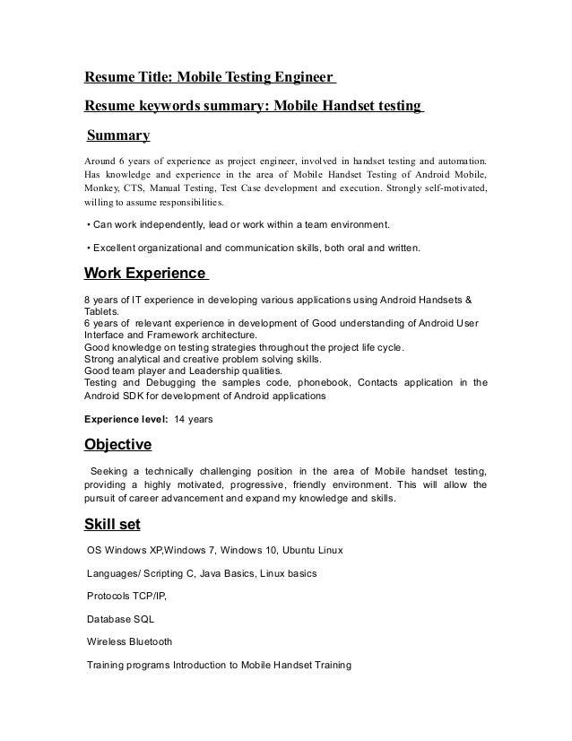 Mobile handset testing resume