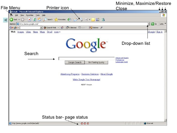 Minimize, Maximize/Restore Close File Menu Status bar- page status Drop-down list Printer icon Search