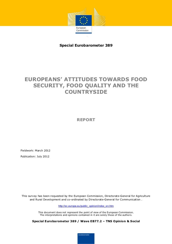 Comisión Europea: European's attitudes towards food security, food quality and the countryside