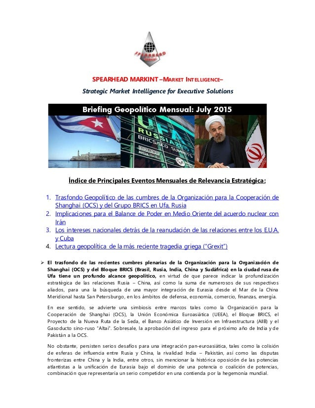 SPEARHEAD MARKINT –MARKET INTELLIGENCE– Strategic Market Intelligence for Executive Solutions Índice de Principales Evento...