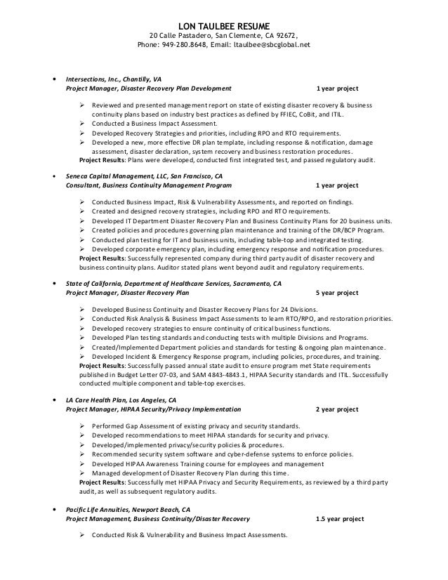 Business continuity manager resume