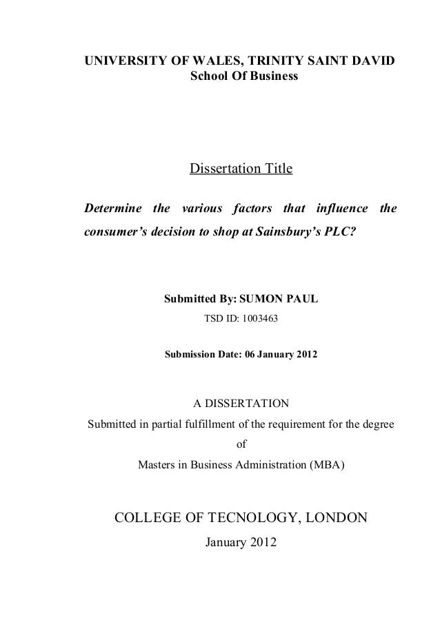 Dissertation of limited scope