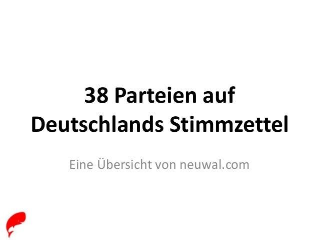 38 Parteien auf Deutschlands Stimmzettel Eine Übersicht von neuwal.com
