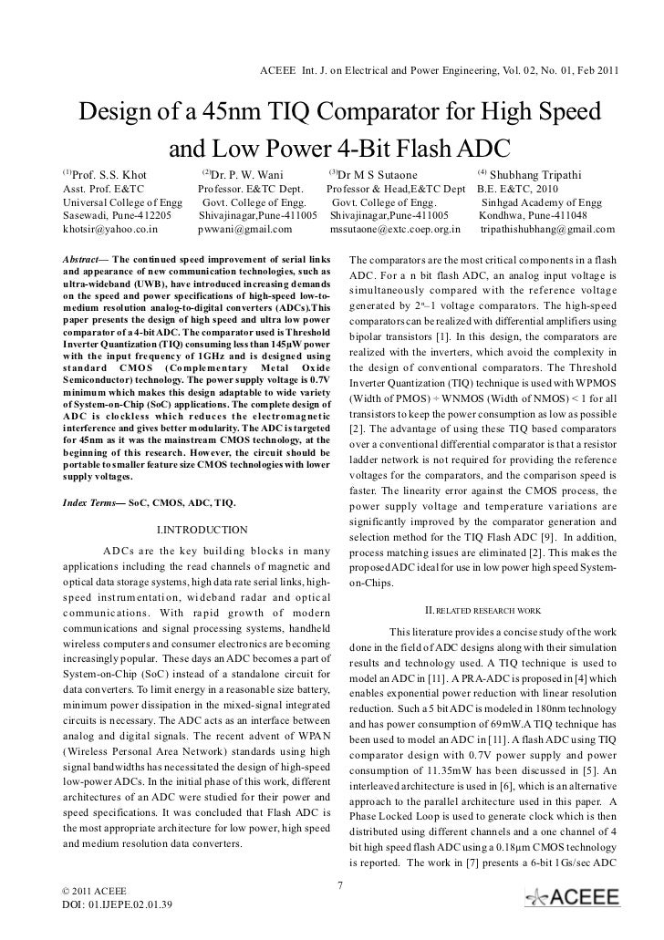 ACEEE Int. J. on Electrical and Power Engineering, Vol. 02, No. 01, Feb 2011       Design of a 45nm TIQ Comparator for Hig...
