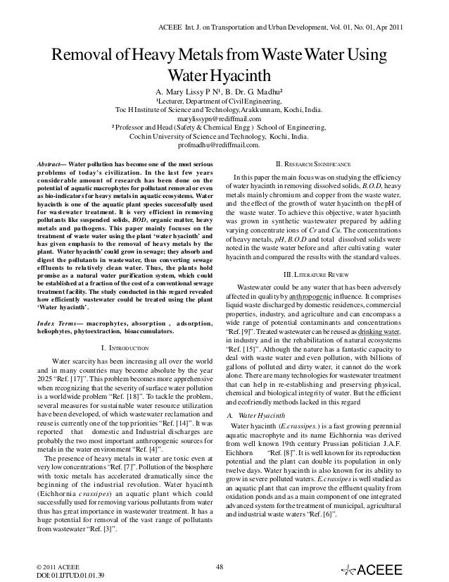 ACEEE Int. J. on Transportation and Urban Development, Vol. 01, No. 01, Apr 2011  Removal of Heavy Metals from Waste Water...