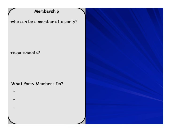 Membership-who can be a member of a party?-requirements?-What Party Members Do? - - -