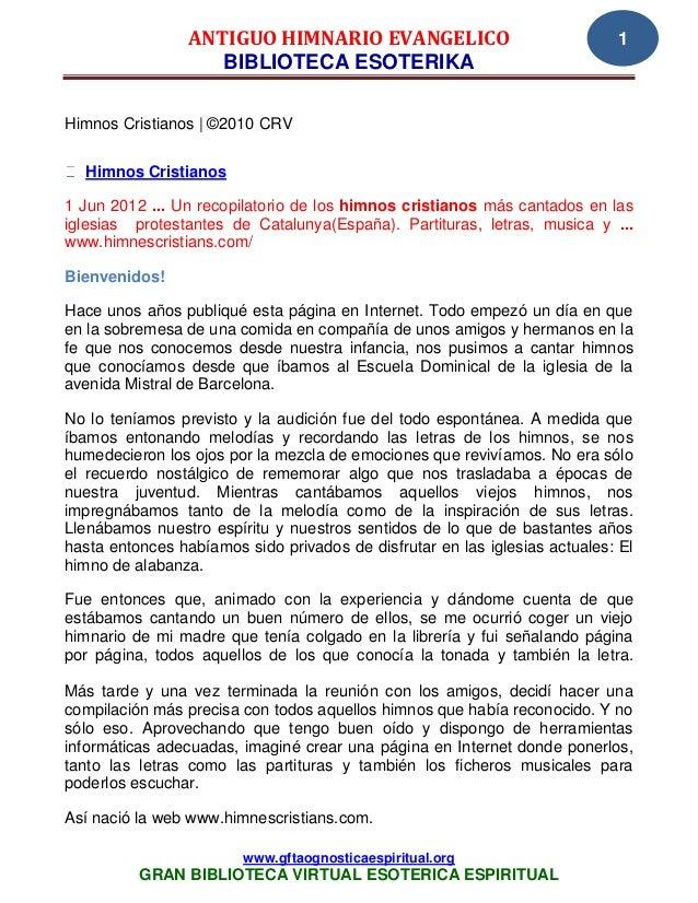 ANTIGUO HIMNARIO EVANGELICO                                1                    BIBLIOTECA ESOTERIKAHimnos Cristianos | ©2...