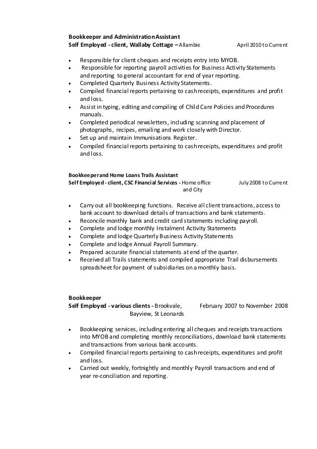 assistant bookkeeper resume april onthemarch co