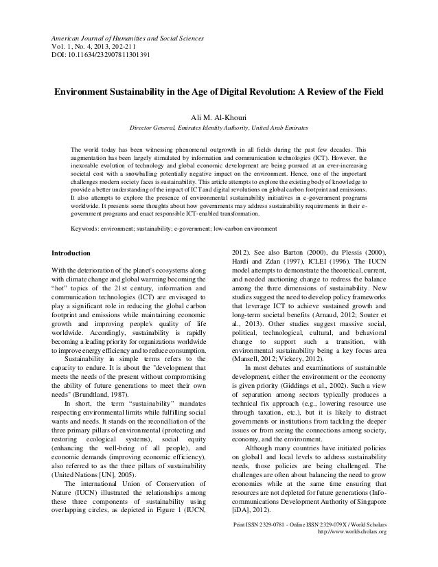 Environment Sustainability in the Age of Digital Revolution: A Review of the Field