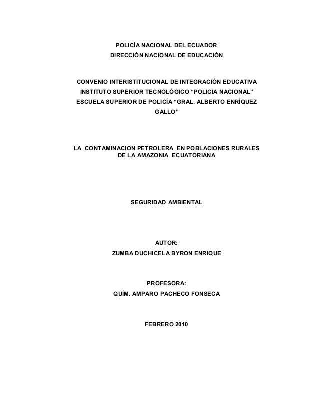 POLICÍA NACIONAL DEL ECUADOR         DIRECCIÓN NACIONAL DE EDUCACIÓNCONVENIO INTERISTITUCIONAL DE INTEGRACIÓN EDUCATIVA IN...