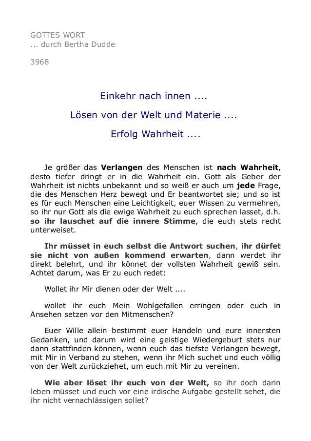 GOTTES WORT ... durch Bertha Dudde 3968 Einkehr nach innen .... Lösen von der Welt und Materie .... Erfolg Wahrheit .... J...