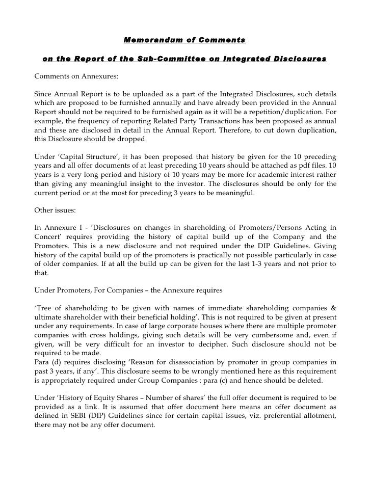 Memorandum of Comments    on the Report of the Sub-Committee on Integrated Disclosures  Comments on Annexures:  Since Annu...