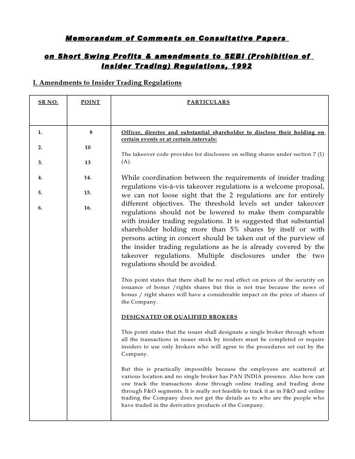 Memorandum of Comments on Consultative Papers        on Short Swing Profits & amendments to SEBI (Prohibition of          ...