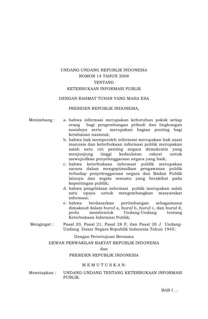 Undang Undang Nomor 14 tahun 2008 tentang Keterbukaan Informasi Publik