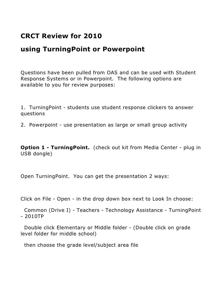 CRCT Review for 2010 using TurningPoint or Powerpoint   Questions have been pulled from OAS and can be used with Student R...