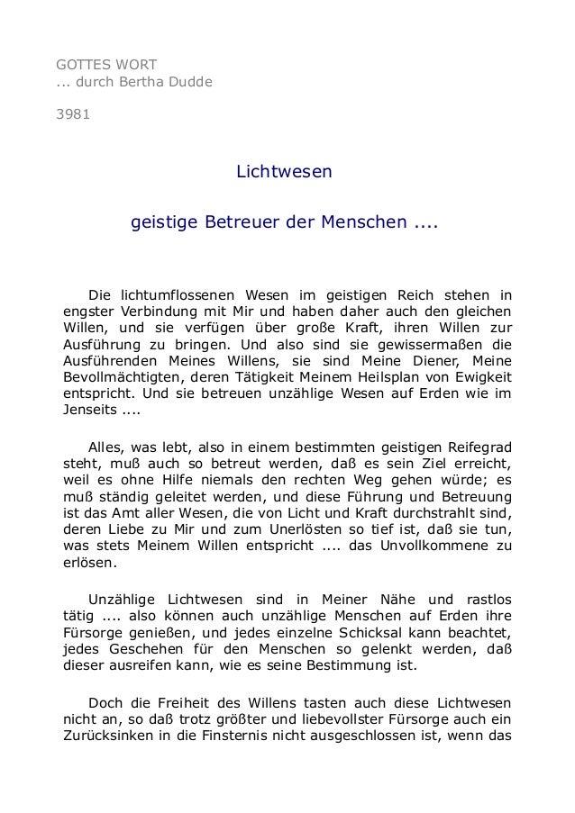 GOTTES WORT ... durch Bertha Dudde 3981 Lichtwesen geistige Betreuer der Menschen .... Die lichtumflossenen Wesen im geist...