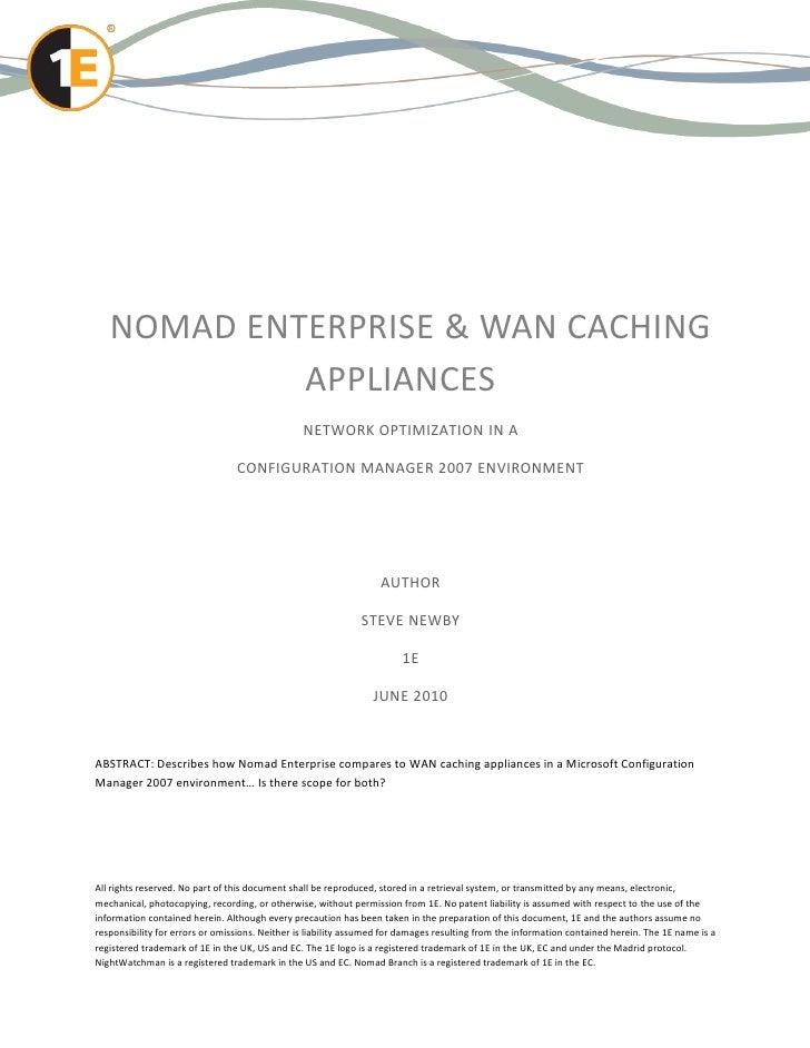 NOMAD ENTERPRISE & WAN CACHING            APPLIANCES                                                NETWORK OPTIMIZATION I...