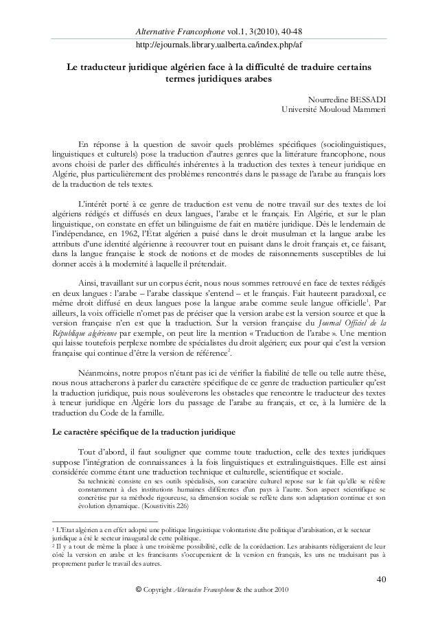 Alternative Francophone vol.1, 3(2010), 40-48 http://ejournals.library.ualberta.ca/index.php/af 40 © Copyright Alternative...