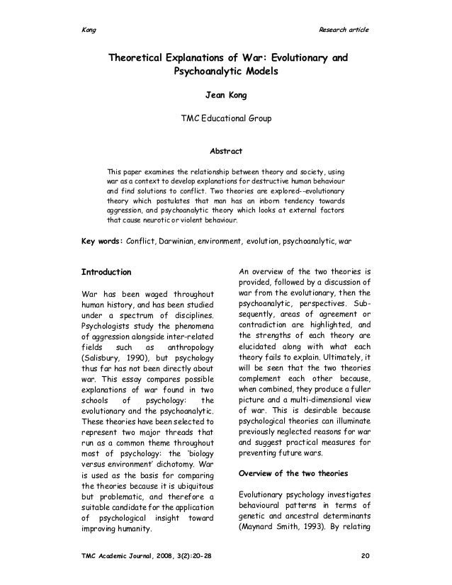 Kong Research article TMC Academic Journal, 2008, 3(2):20-28 20 Theoretical Explanations of War: Evolutionary and Psychoan...