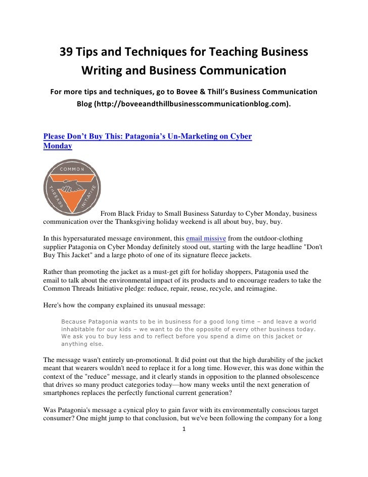 Business writing tips and techniques
