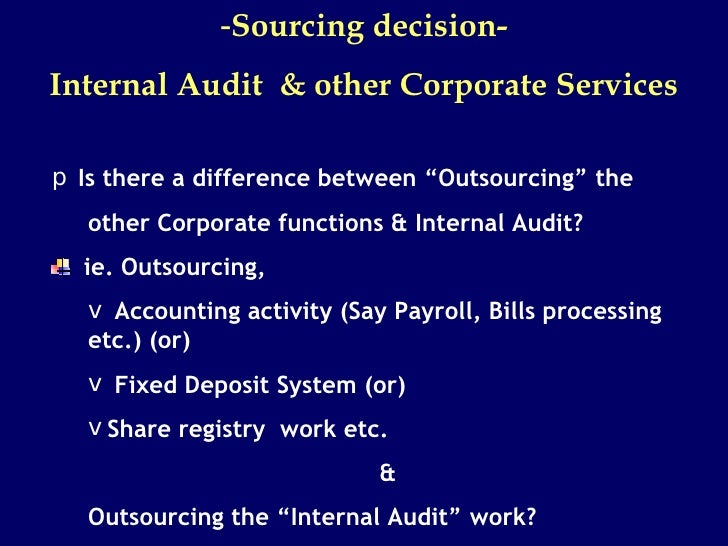 pros and cons of outsourcing the internal audit functions Any company looking to outsource must keep in mind the pros and cons of outsourcing before deciding to take the plunge if important functions are being.