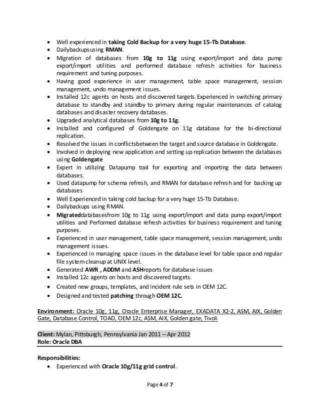oracle dba resume - Oracle Dba Resume Sample