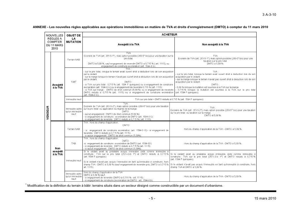tva immobili re instruction administrative du 15 mars 2010. Black Bedroom Furniture Sets. Home Design Ideas
