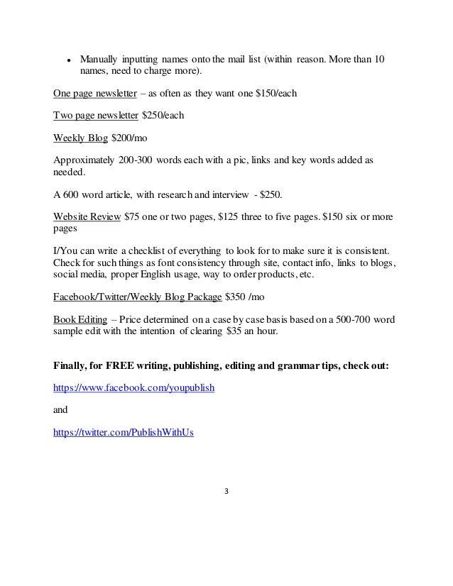 Writing service price list arkansas
