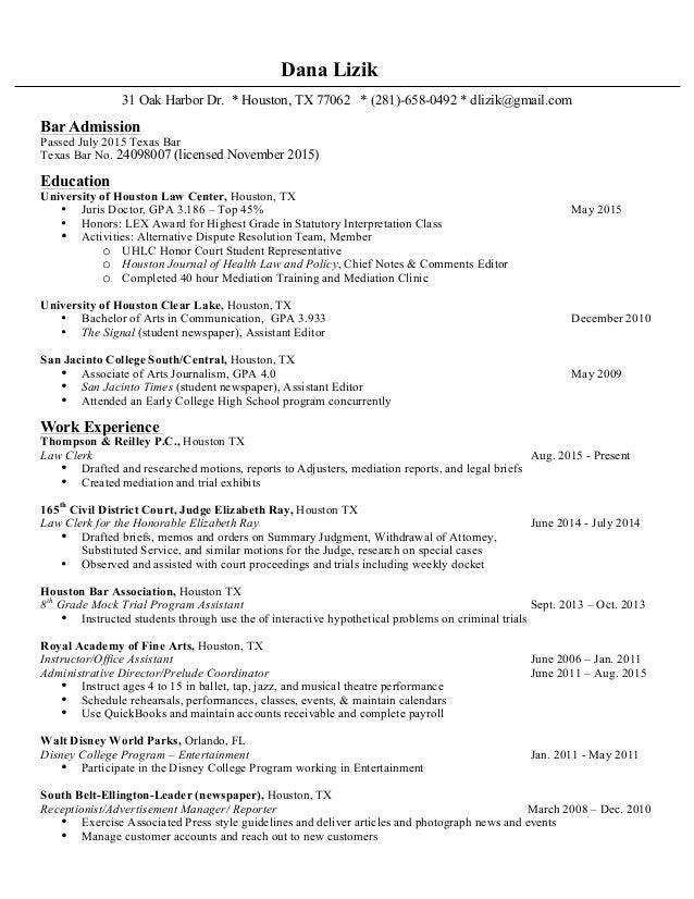Resume bar admission