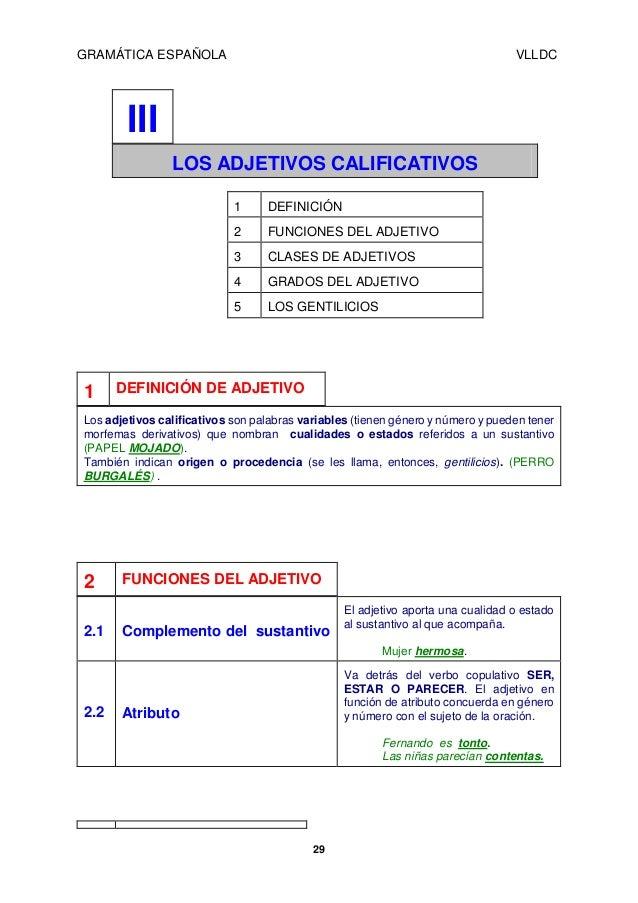 GRAMÁTICA ESPAÑOLA  VLLDC  III LOS ADJETIVOS CALIFICATIVOS 1 2  FUNCIONES DEL ADJETIVO  3  CLASES DE ADJETIVOS  4  GRADOS ...