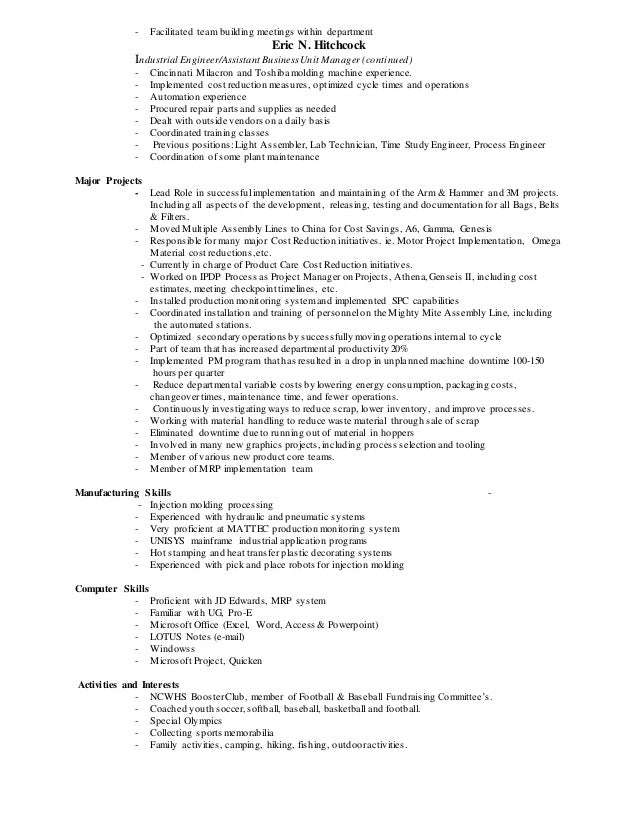 injection molding and resume retail resume