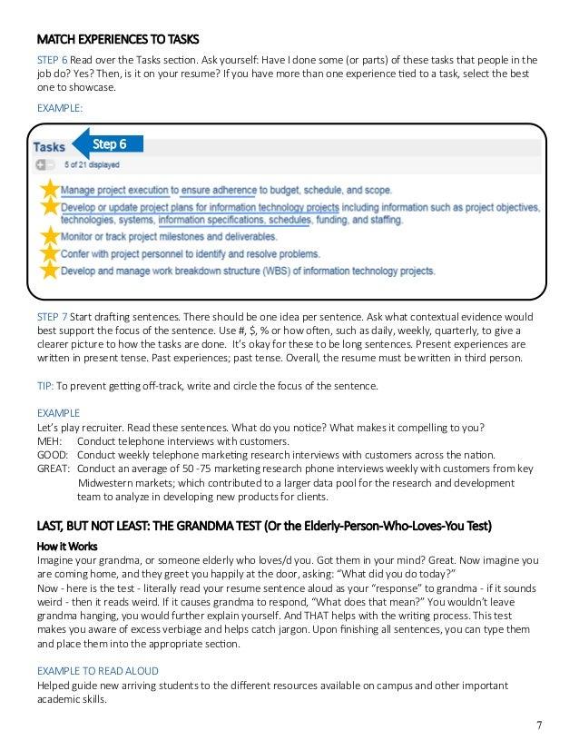 Resume verbiage examples