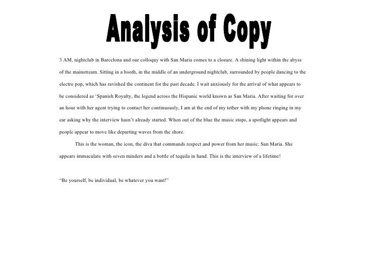 Analysis of Copy