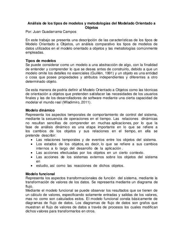 Análisis de los tipos de modelos y metodologías del Modelado Orientado a                                  ObjetosPor: Juan...