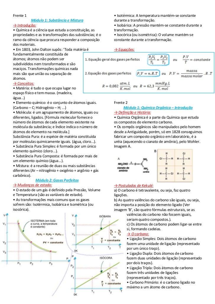 Frente 1<br />Módulo 1: Substância e Mistura<br />-> Introdução:<br />• Química é a ciência que estuda a constituição, as ...
