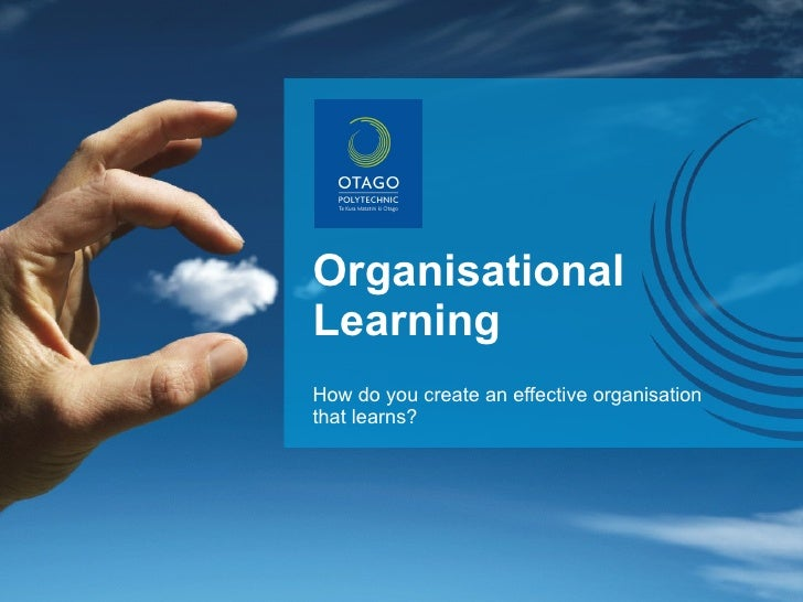 Organisational Learning How do you create an effective organisation that learns?